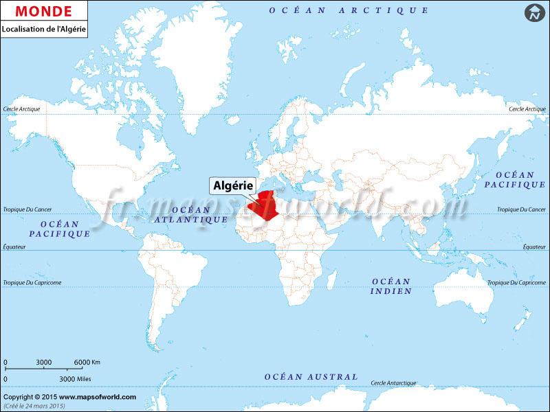Algerie Carte Du Monde.Ou Est L Algerie Algerie Emplacement Sur La Carte Du Monde