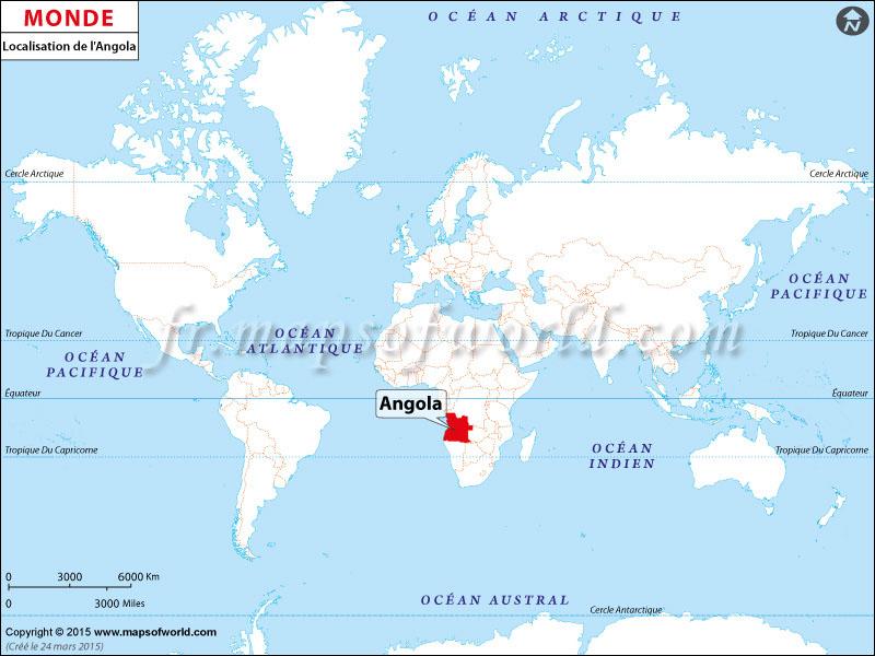 angola sur la carte du monde
