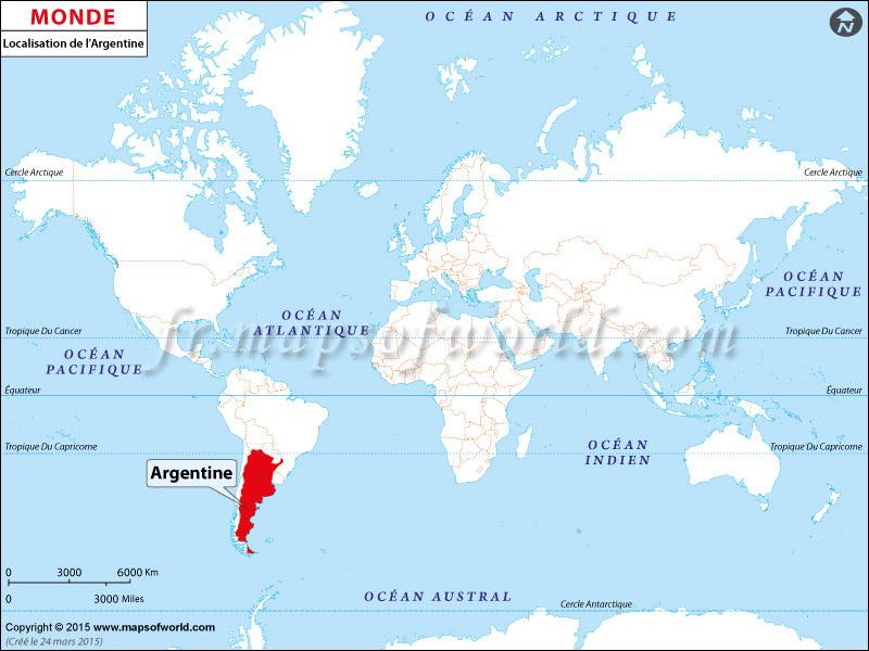 Où est l'Argentine | Emplacement de l'Argentine sur la carte mondiale