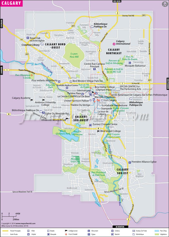 Calgary Carte   Carte de la ville de Calgary