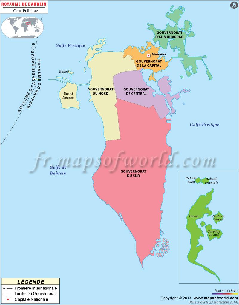 bahrein sur la carte du monde