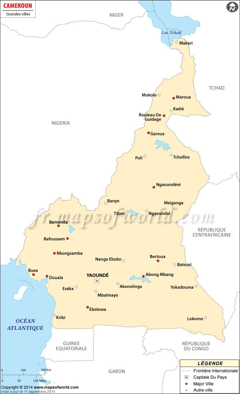 Carte Australie Grande Ville.Cameroun Villes Carte