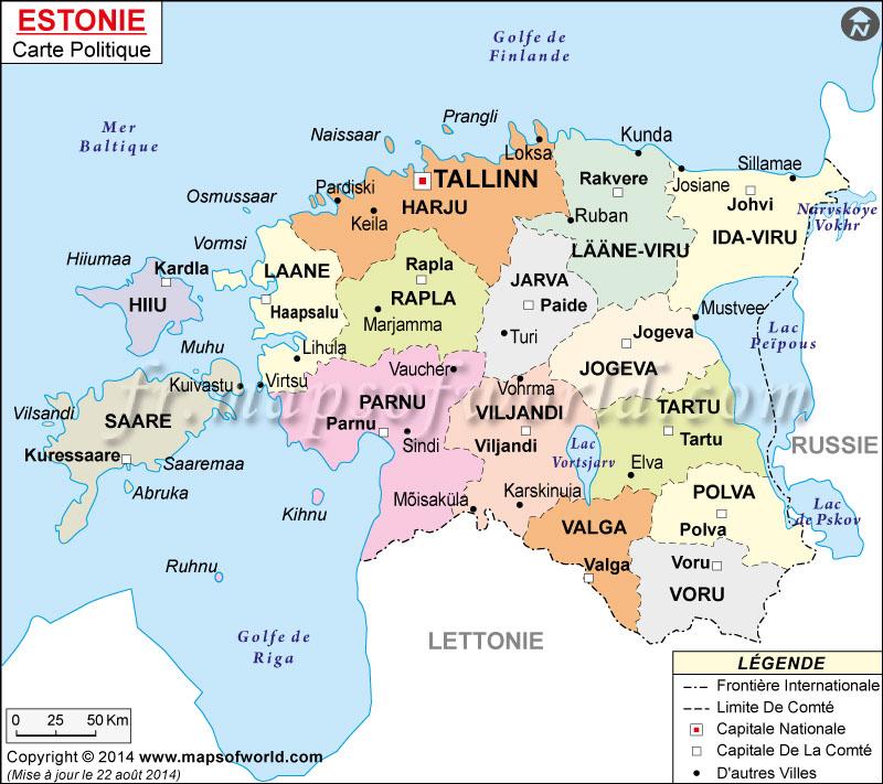 Estonie Carte, Carte de l'Estonie