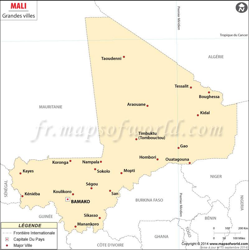 Mali Ville Carte