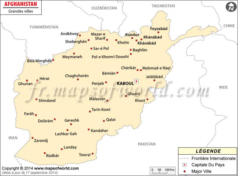 Afghanistan Villes Carte