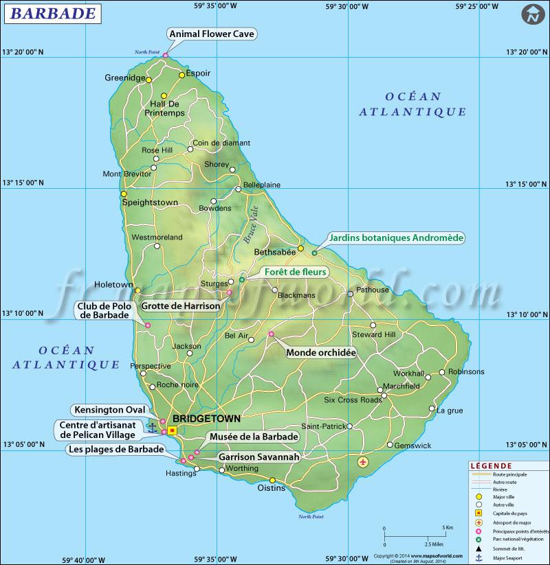 Carte de la Barbade