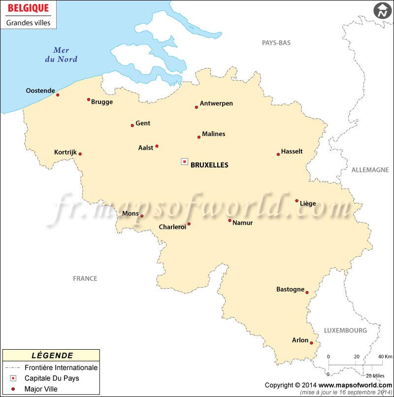 Carte De La Belgique Avec Les Provinces Et Villes