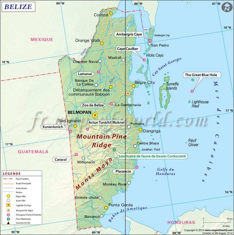 Belize Carte, Carte du Belize