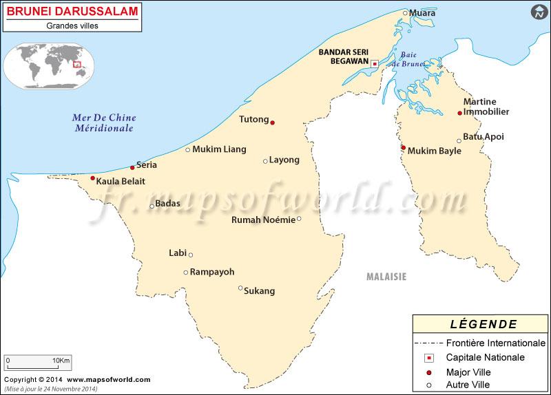 Brunei Villes Carte