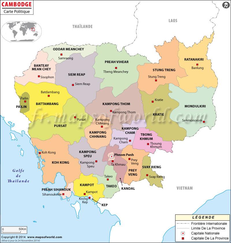 Carte Cambodge Villes