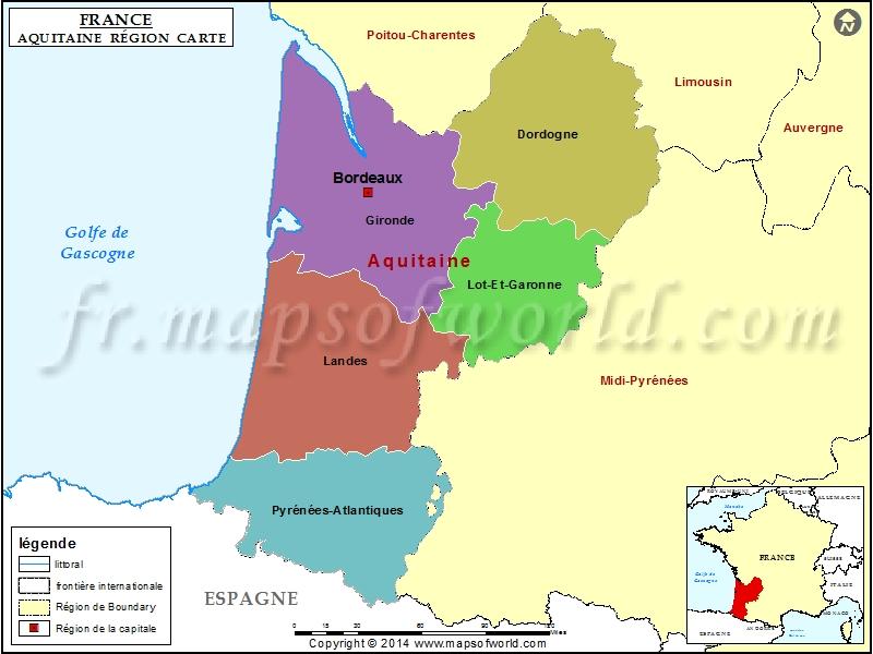 Carte d'Aquitaine