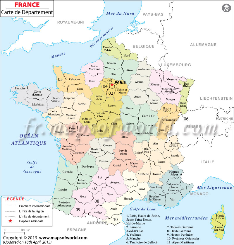 carte d partement france carte des d partements de france. Black Bedroom Furniture Sets. Home Design Ideas