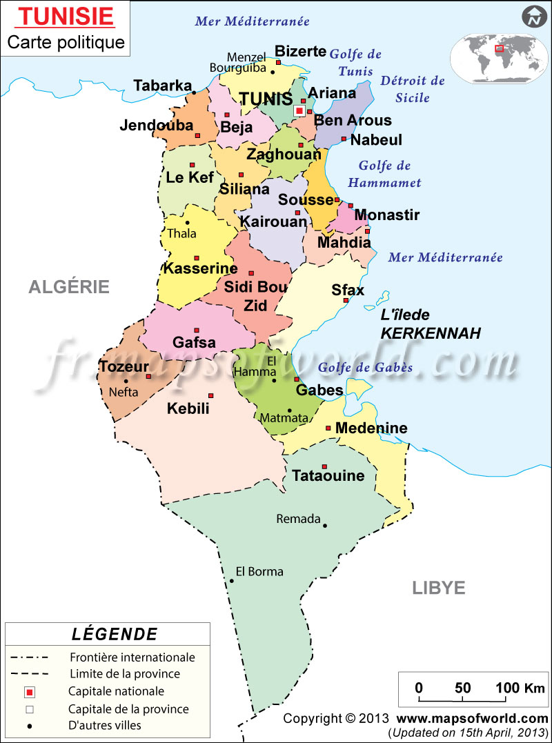 Carte Tunisie | Carte de la Tunisie