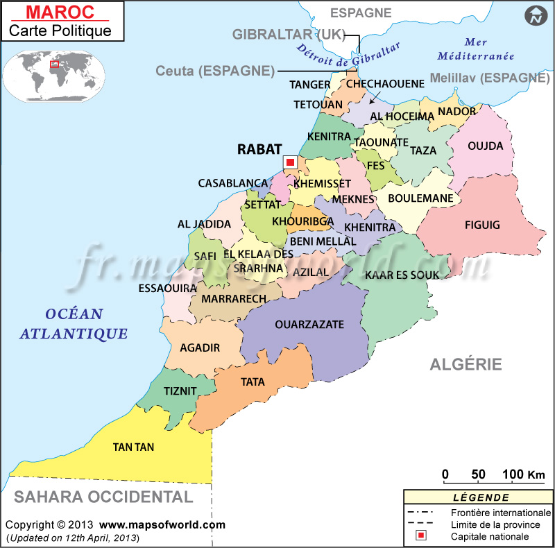 Description : maroc carte montre la frontière internationale, la