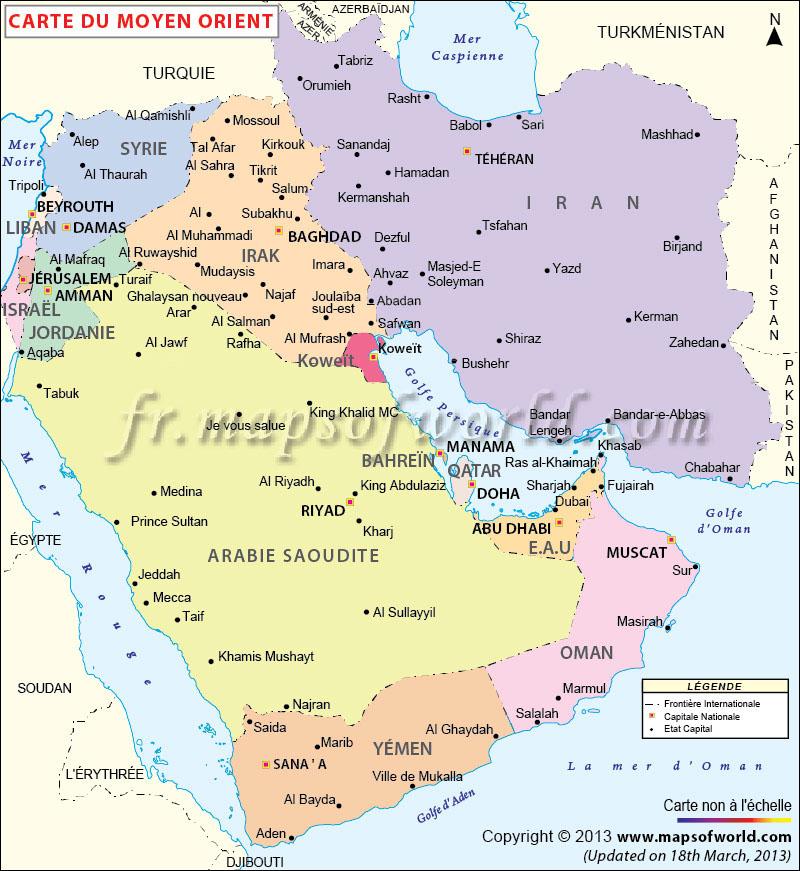 moyen orient carte du monde Moyen Orient Carte