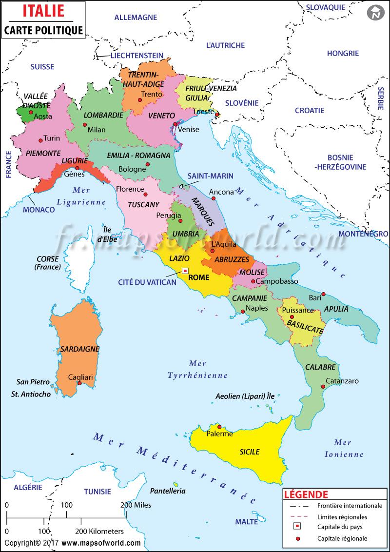 carte Italie montrant leurs régions