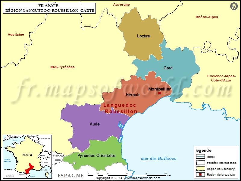Carte de Languedoc-Roussillon