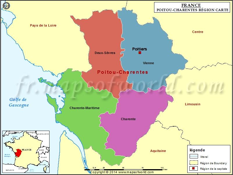 Carte de Poitou-Charentes