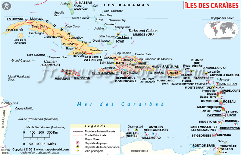 Carte de Caraïbes, carte des îles des Caraïbe