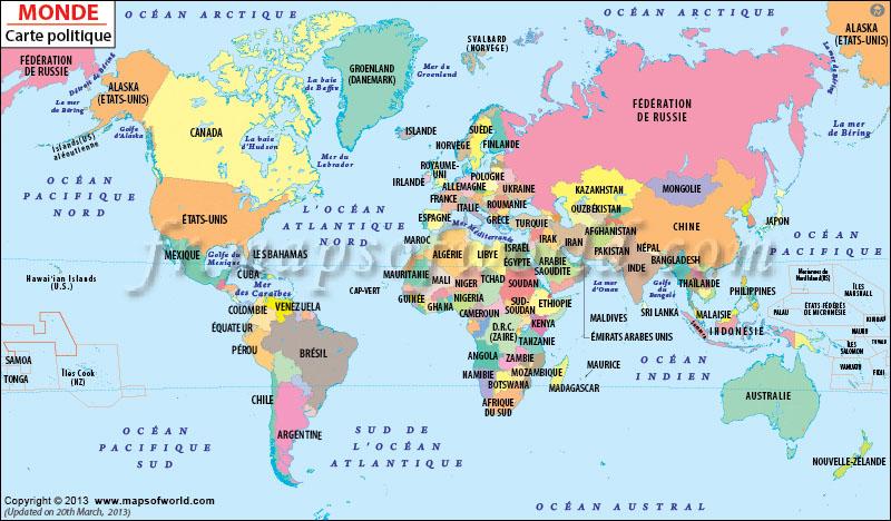 Description, signalement : carte politique du monde dépeignant des