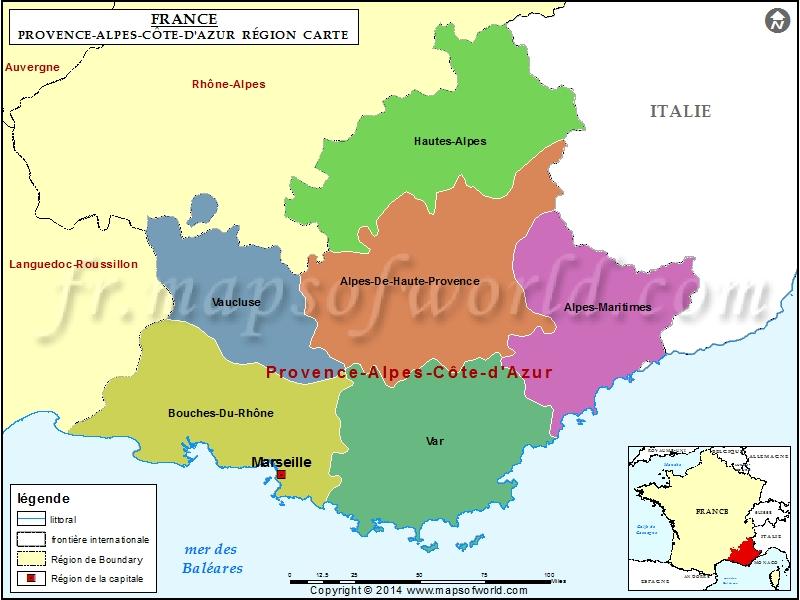Carte de Provence-Alpes-Côte d'Azur