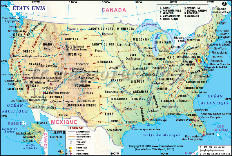 Carte Ètats Unis, Carte USA, Carte de l'Amérique