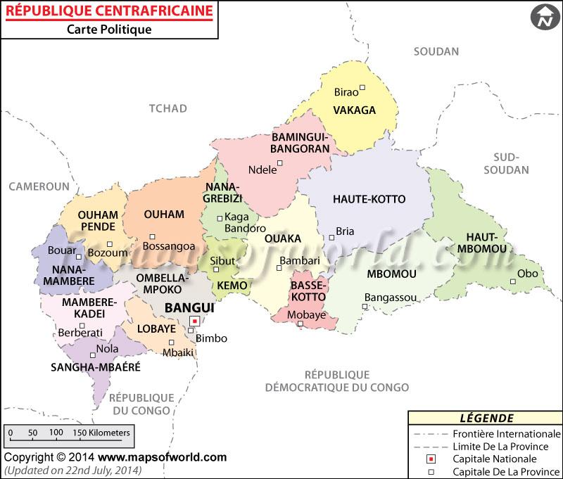 République centrafricaine Carte