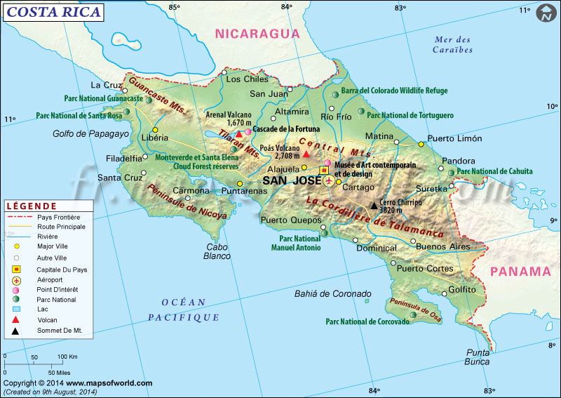 costa rica sur la carte du monde - Image