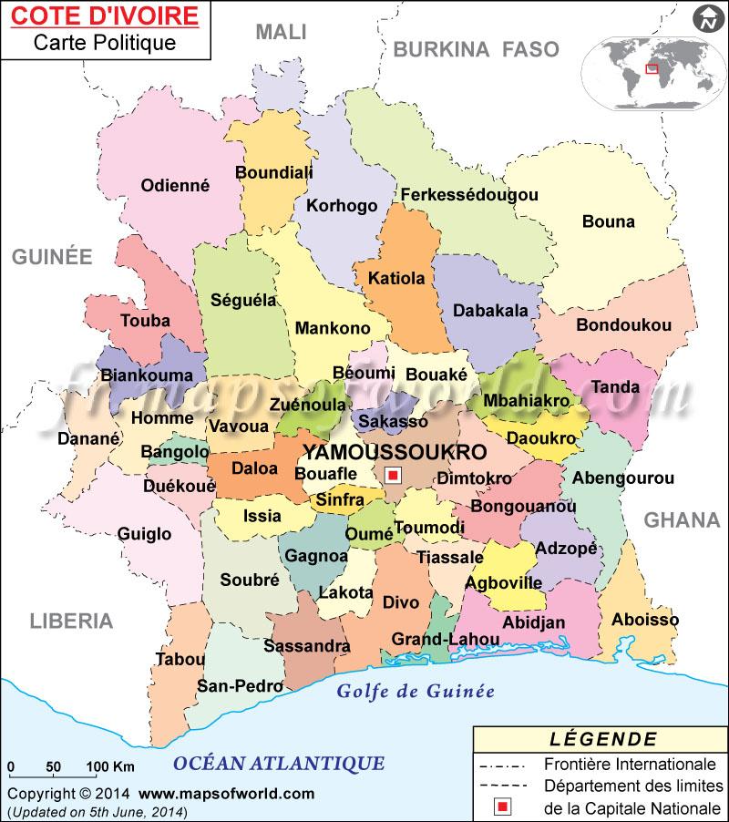 Carte de la Côte-d'Ivoire
