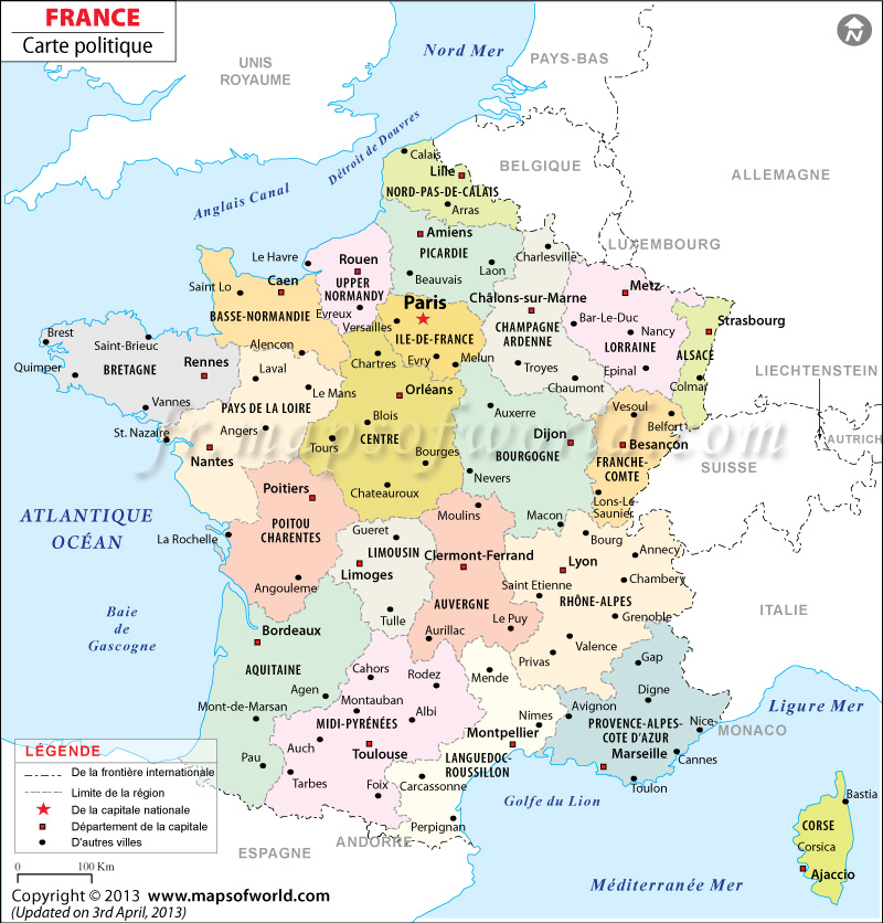 France Politique Carte | Politique Carte Du France