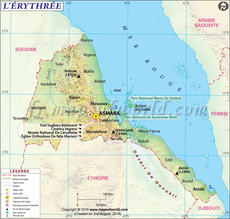 Érythrée Carte