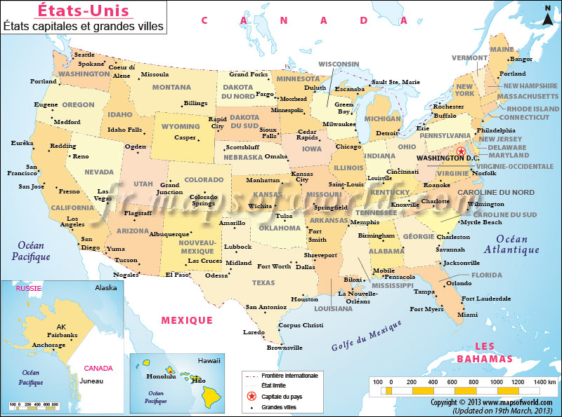 Road map of us states and cities