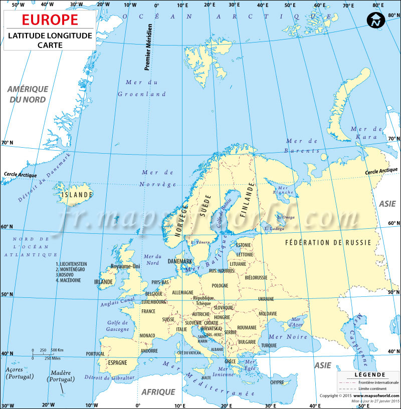 Carte Latitude et Longitude de Pays Européens