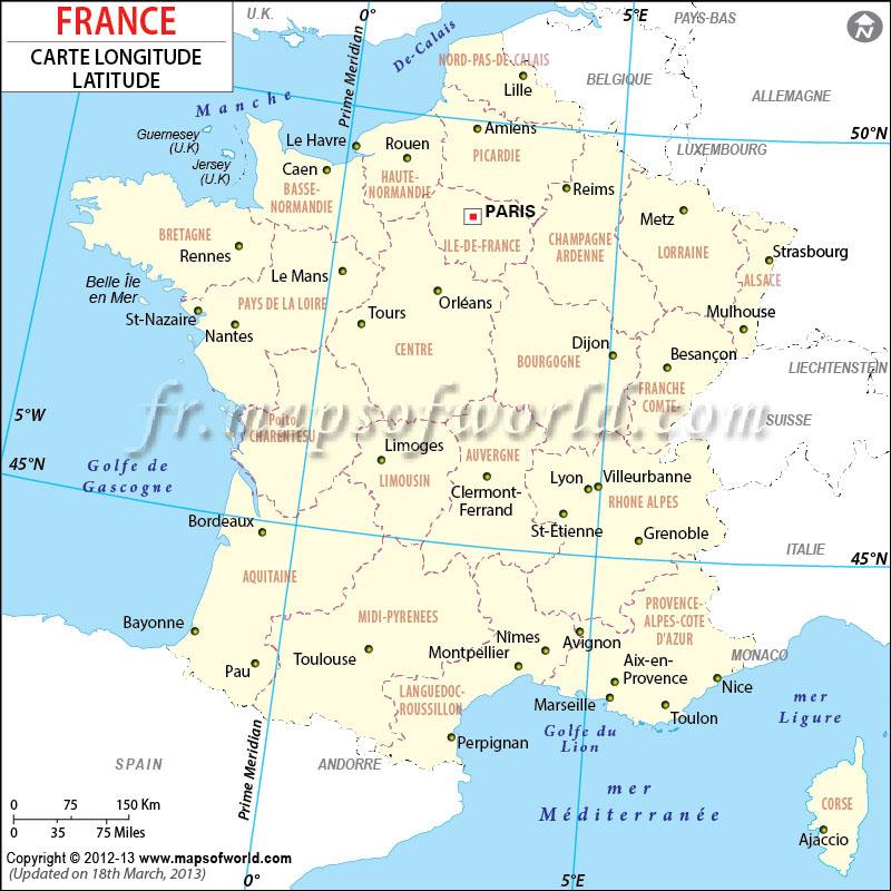 La latitude et la longitude de la France