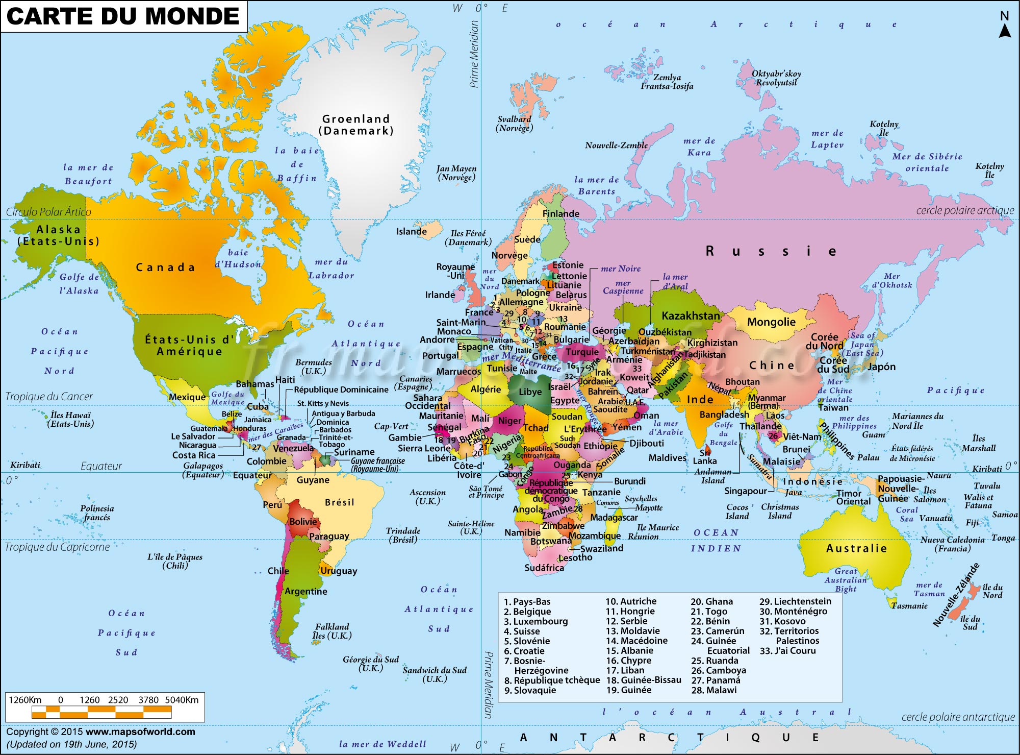 Carte Du Monde   Map of World