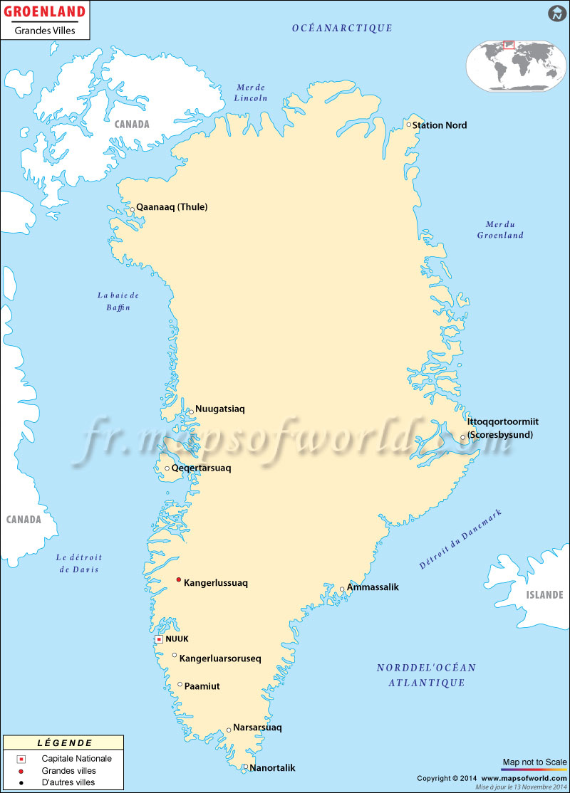 Groenland Villes Carte