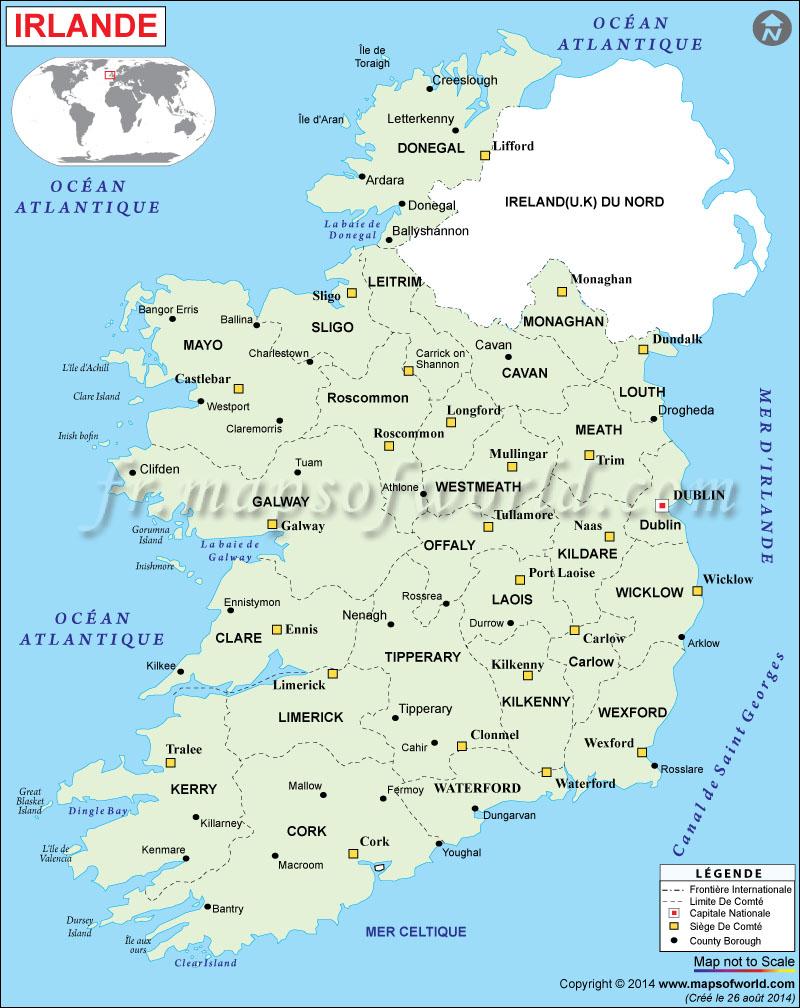 Carte Des Grandes Villes D Irlande
