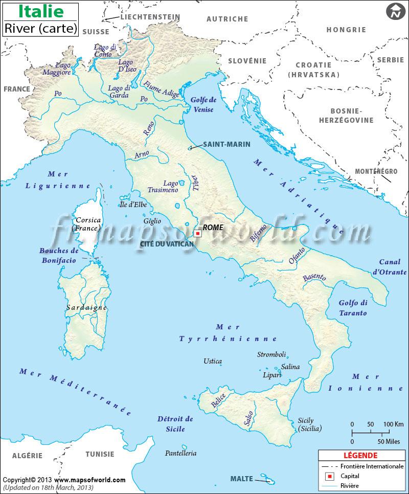 Carte Amerique Latine Avec Fleuves.Italie Riviere Carte Riviere Carte De Italie
