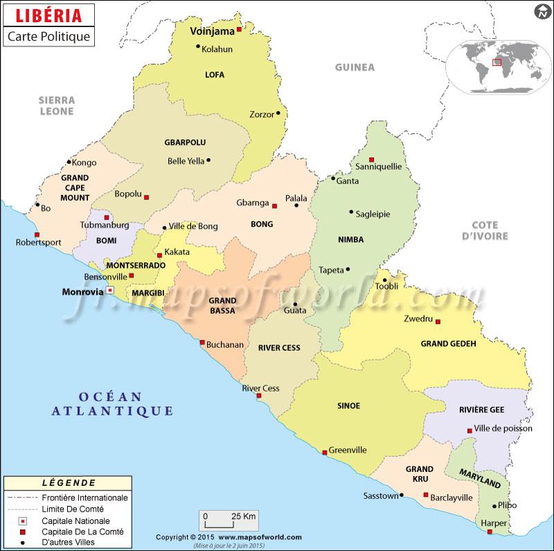 Libéria Carte