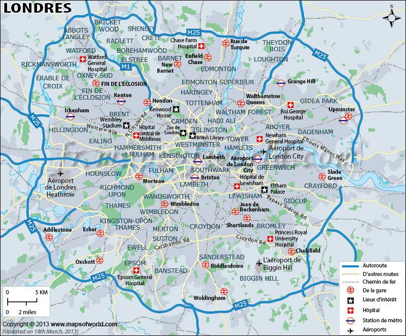 London Voir La Carte