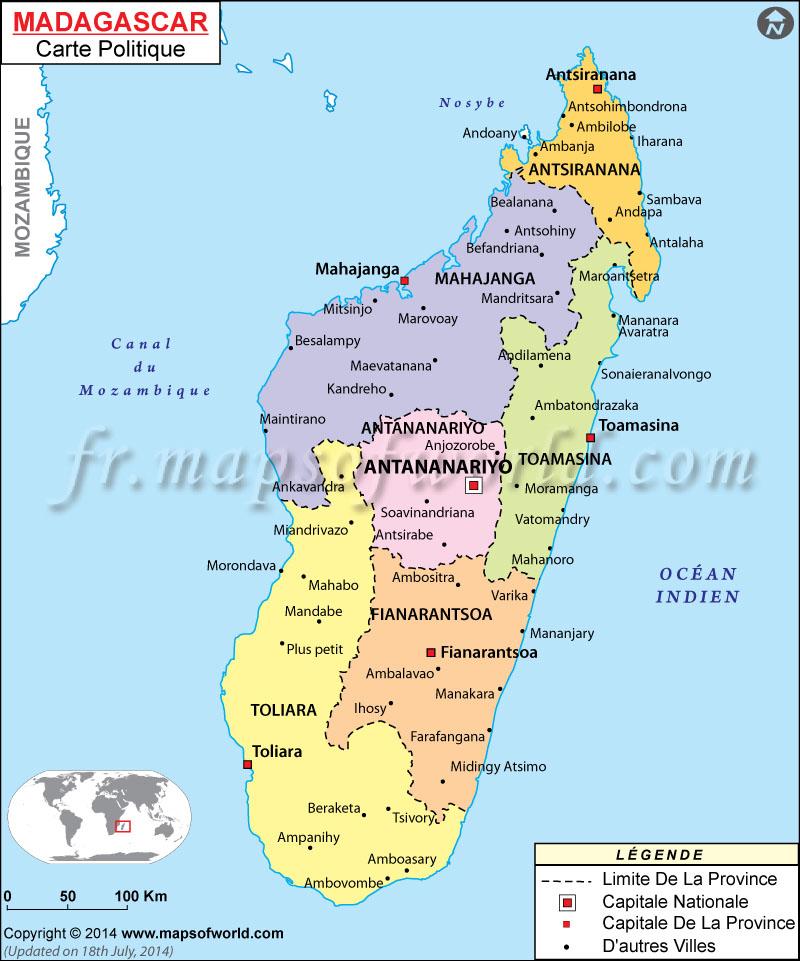 Carte Madagascar Monde.Carte Madagascar Madagascar Carte Politique