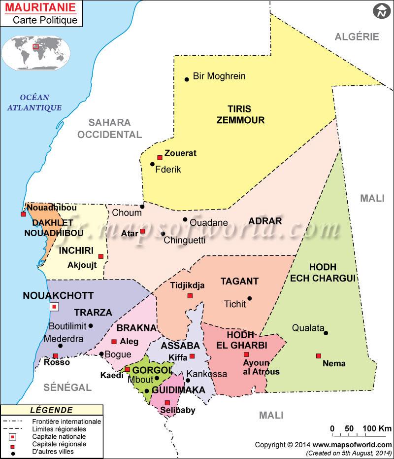 Carte Algerie Mauritanie.Carte De La Mauritanie