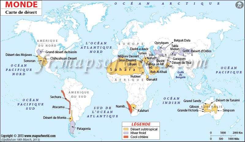 ou se trouve le desert darabie sur la carte du monde