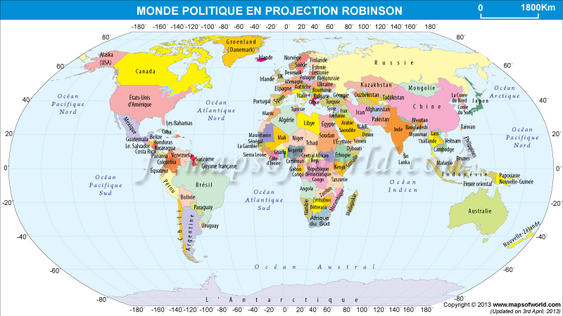 carte politique du monde en projection de Robinson
