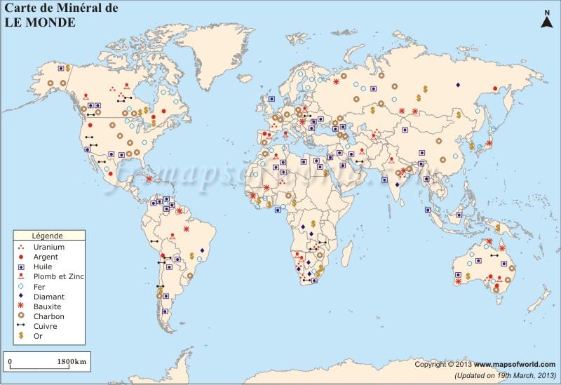 Carte Minérale Mondiale