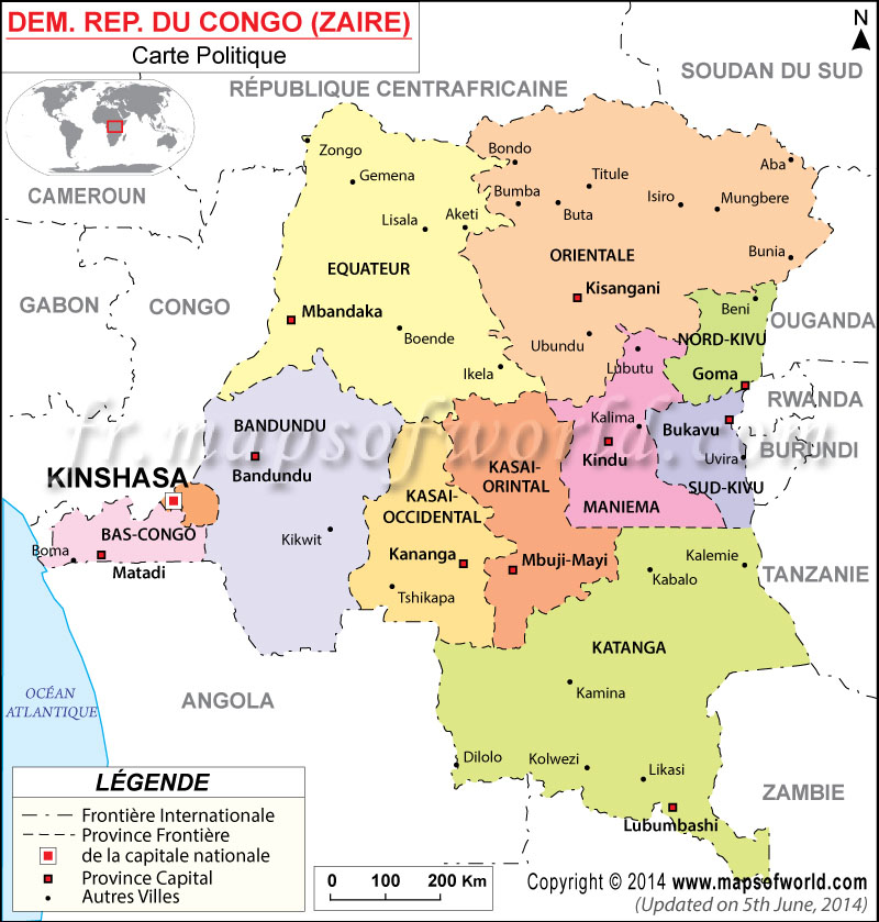 Carte Afrique Kinshasa.Republique Democratique Du Congo Carte