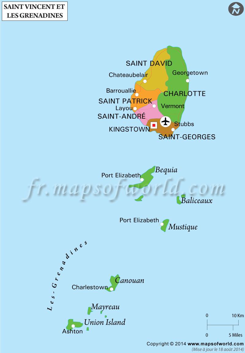 saint vincent et les grenadines sur la carte du monde