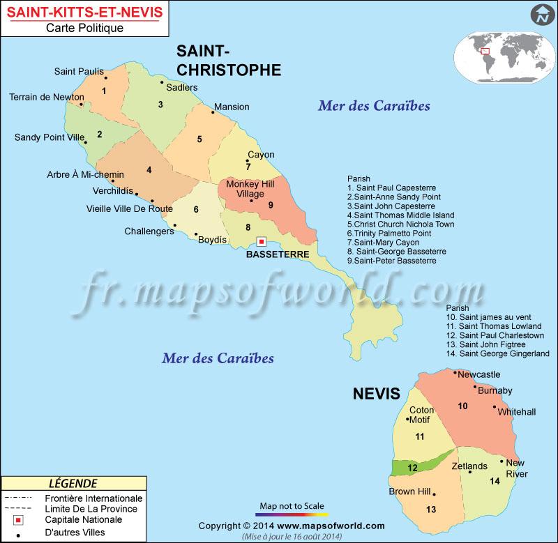 Saint-Kitts-et-Nevis carte