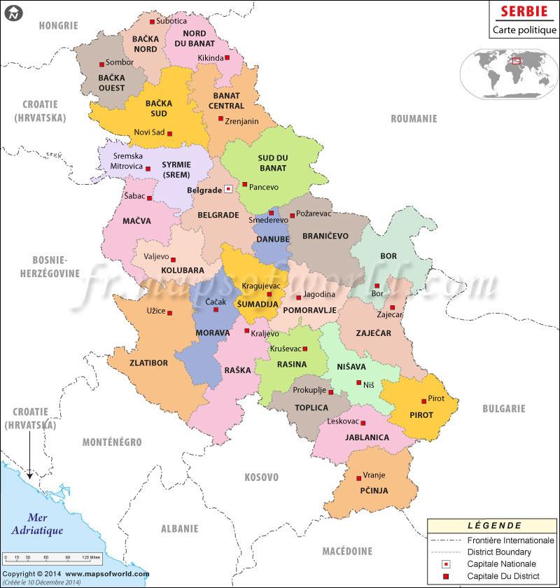 la serbie carte europe
