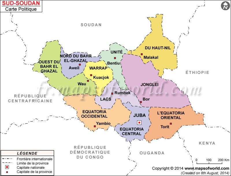 Sud Soudan Carte